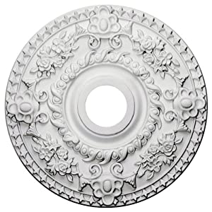 Ekena Millwork CM18RO Rose Ceiling Medallion, 18″OD x 3 1/2″ID x 1 1/2″P (Fits Canopies up to 7 1/4″), Factory Primed
