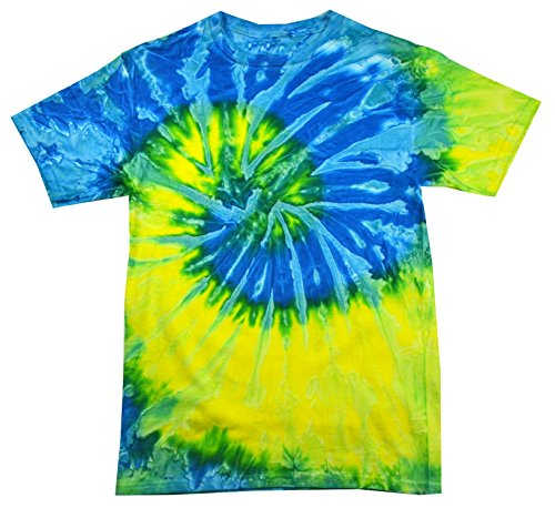 Yellow Bold T-shirt - Colortone Tie Dye T-Shirt XL Spiral Blue/Yellow