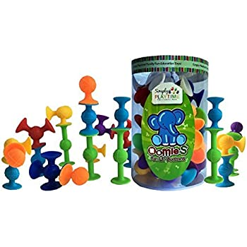 Simply Playtime Oomies Silicone Suction Cup Building Construction Toys STEM - STARTER 26 Piece Play Set for Kids