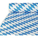 Papstar 12543 Damask Table Runner Tablecloth Diamond Oktoberfest 10 x 1 M / Bavarian Blue