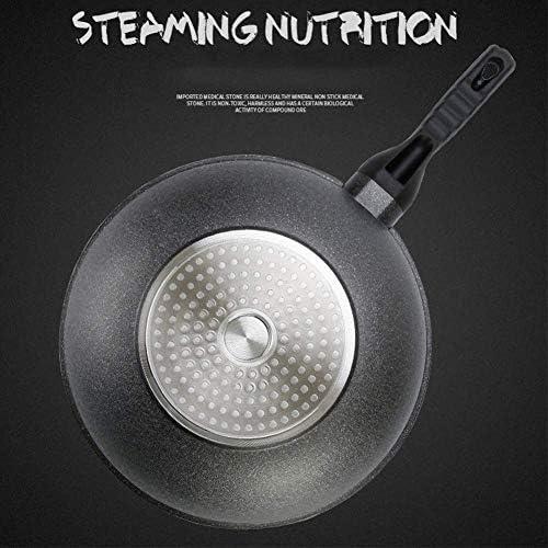 中華鍋麦飯石蓋シングルハンドルノンスティックフライパン家庭用調理器具誘導調理器ユニバーサルStirfryポット30センチメートルとフライフライパンをかき混ぜます wok