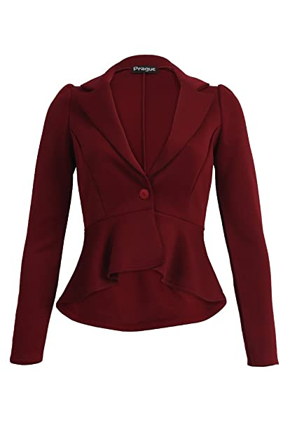 d1db6a01bea Made By Malaika® New Ladies Long Sleeve Tailored Peplum Cropped Blazer  Women s Slim Fit Jacket Business Office Work Formal Evening Coat Plus Size  8-26  ...