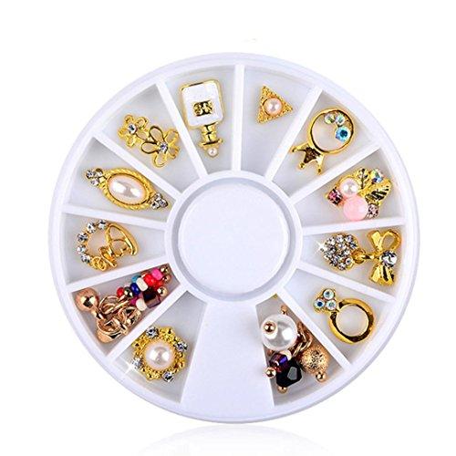Nail Art,Putars Fashion 3D Nail Art DIY Gold Flower Ring Decoration Alloy Pearl Jewelry + Wheel ()