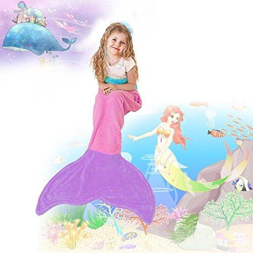 Zoom Cozy Mermaid Tail Blanket,All Season Warm Sleeping Bags for kids .Cute Gift(Pink and Purple) (S, Pink)
