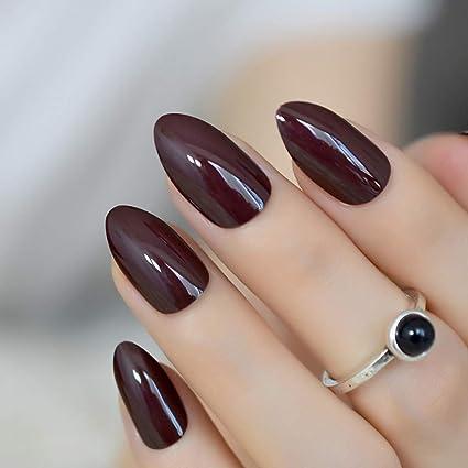 EchiQ uñas postizas cortas ovaladas afiladas color marrón oscuro falso uñas Stiletto marrón-negro puntiagudas