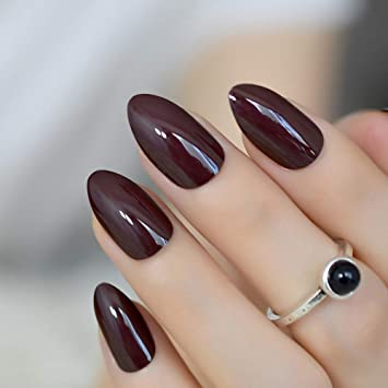 Amazon Com Coolnail False Nails Short Oval Sharp Solid Dark Brown