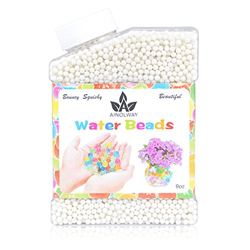 AINOLWAY High Elastic Water Beads Gel Pearls Jelly Crystal Soil for Vase Fillers (9 Oz, White)