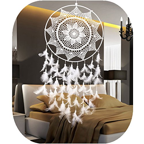 """Large Dream Catcher, White Big Handmade Decorative Hanging Ornaments Lace Dreamcatcher for Wall Bedroom Party~ 15.7"""" Diameter - 39"""" Long by IEVE"""
