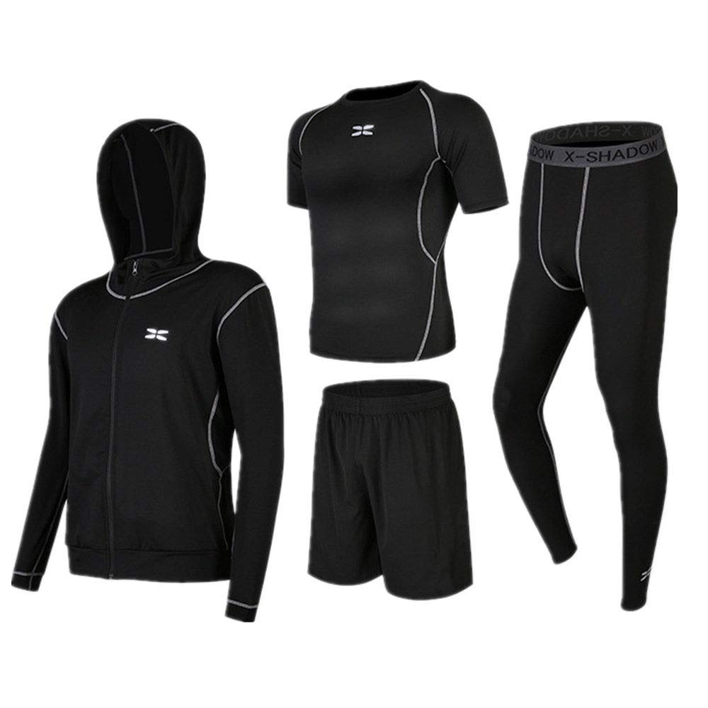 Black Small Mens Sports Gym Fitness Clothing 4 Pcs Men's Workout Clothes Set with Outwear,Compression Tight Pants,Short Sleeve TShirt,Shorts Man Sportswear (color   Black, Size   S)