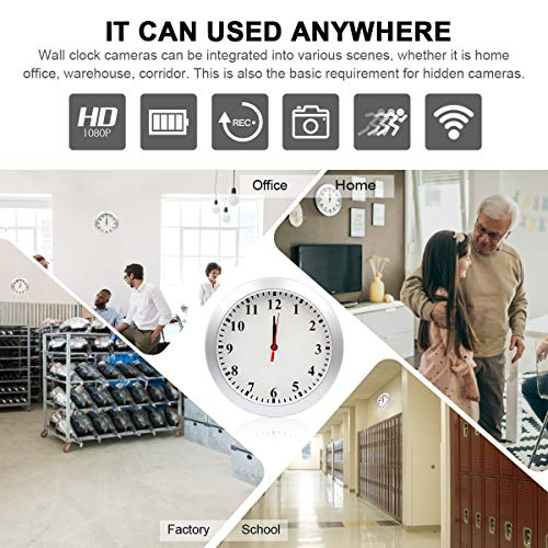 Wall Clock Camera LMGL HD 1080P WiFi Clock Camera Wireless Hidden with Motion Detection, Remote Viewing, Loop Recording Mini Video, 5000mAh Battery Support iOS/Android