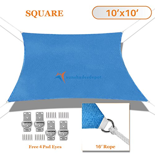 Sunshades Depot 10 X 10 Sun Shade Sail Square Permeable Canopy Ice Blue Custom Size Available Commercial Standard