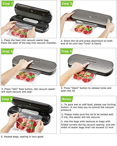 Macchina Sottovuoto per Alimenti KitchenBoss Sottovuoto Macchina Vacuum Sealer Professionale Automatica Portatile con… 5