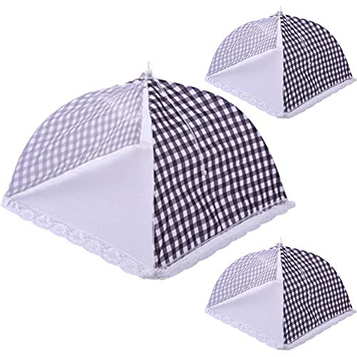 TEERFU 3Pack food tents Mesh Screen Food Cover Tent Umbrella, Reusable and Collapsible Outdoor Picnic Food Covers Mesh, Food Cover Net Keep Out Flies, Bugs, Mosquitoes Size 32CM