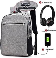 Mochila antirrobo, Muitech Backpack capacitad 35L con bloqueo de contraseña, con puerto de carga USB, con Interfaz para auriculares, mochila impermeable para portátil Laptop de 12-15 pulgadas, contra agua, estudiantes, viajes, negocios, Unisex (Gris)
