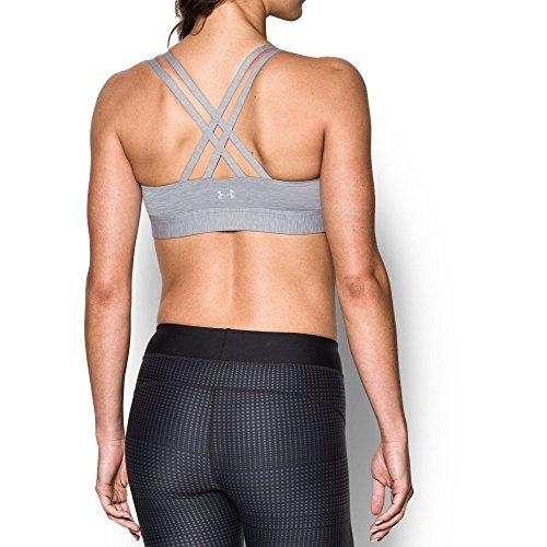 Under Armour Women's Armour Eclipse Low Heathered Sports Bra,True Gray Heather (025)/Metallic Silver, Small ()