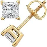 1 Carat 14K Yellow Gold Solitaire Diamond Stud Earrings Princess Cut 4 Prong Screw Back (I-J Color, VS2-SI1 Clarity)