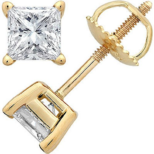 Near 1 Carat 0.95ctw 14K Yellow Gold Solitaire Diamond Stud Earrings Princess Cut 4 Prong Screw Back (I-J Color, SI2-I1 (Princess Cut Four Prong)