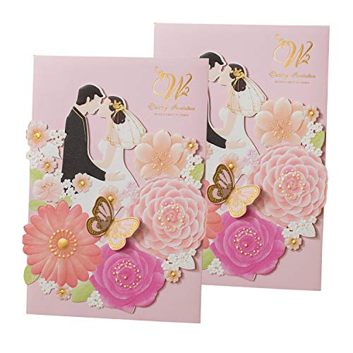 50PCS Laser Cut Bronzing Wedding Invitation Cards Hollow Favors Invitation Cardstock (YC073) ()