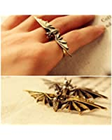 HuaYang Vintage Cool Bat Wing Two / Double Finger Stretch Adjustable Ring(Bronze)