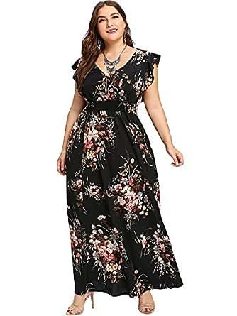 Milumia Plus Size Sun Dress Empire Waist Wrap V Neck Floral Print Boho Chiffon Sleeveless Party Maxi Dress Navy 0XL