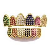 RONSHIN Hip Hop Jewelry Gold-plated Zircon Gold Braces Hiphop Jewelry Braces (Colorful)