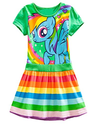 e5fd87c92 Lemonbaby My Little Pony Dress Colorful Striped Cartoon Girls Dress (5t,  Green)
