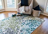Mohawk Home Aurora Radiance Abstract Floral Printed Area Rug, 7'6×10′, Aqua Blue