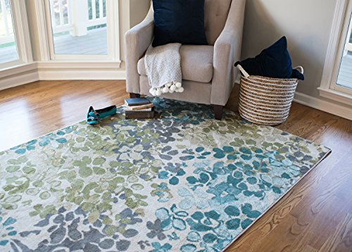 Mohawk Home Aurora Radiance Abstract Floral Printed Area Rug, 7'6x10', Aqua Blue (Green Blue Rugs)