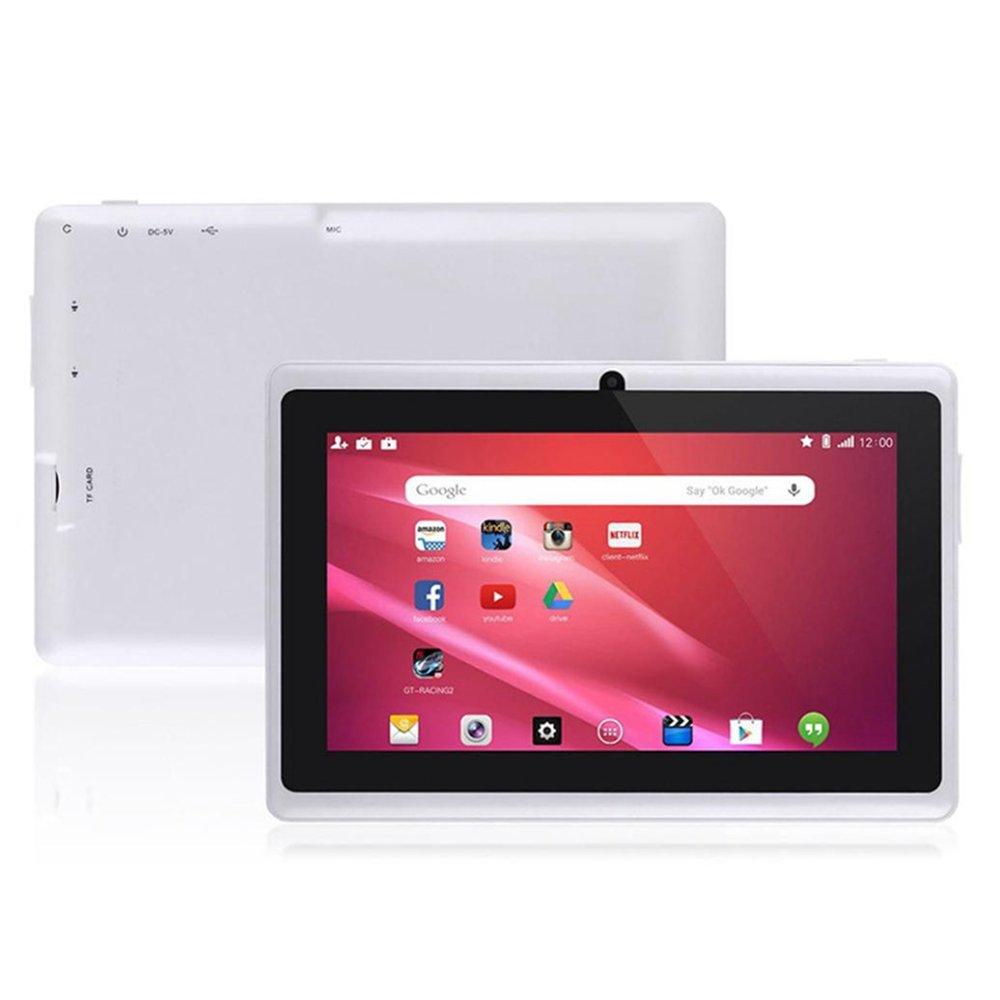 Kids Tablet PC 7 Android 4.4 Case Bundle Dual Camera 1.2Ghz Wi-Fi Bonus Items (7'', White)