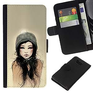 A-type (Dad Woman Sun Watercolor) Colorida Impresión Funda Cuero Monedero Caja Bolsa Cubierta Caja Piel Card Slots Para Samsung ALPHA G850
