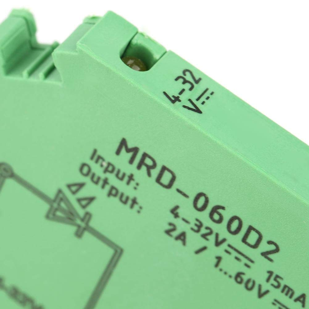 DIN Rail Relay Module MRD-060D2 Ultra-Thin DIN Rail Mount Relay 6.2mm Solid State Relay Module Input 4-32VDC NO with LED Input State Indicator