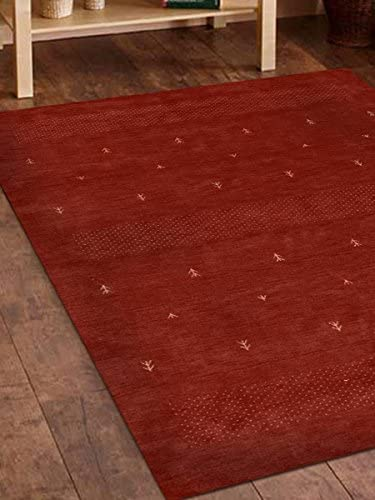 Rugsotic Carpets Hand Knotted Gabbeh Wool 6'x9' Area Rug Contemporary Red L00515