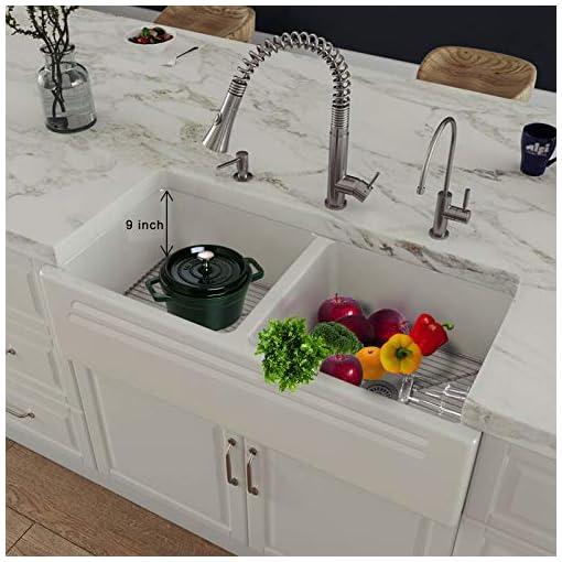 Farmhouse Kitchen 33 inch Fireclay Farmhouse Sink, Double Bowl Apron Front Farmhouse Kitchen Sink, Revesible White Farmhouse Sink With 2… farmhouse kitchen sinks