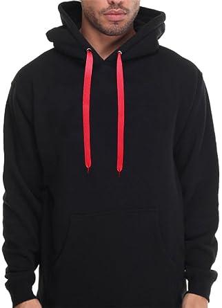 55781cc8c8 Mens Hoodie Plain Sweatshirt Pullover Hooded Black Red Thick Strings Cool  Hood (2X - XXL