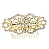PROHAIR Trendy Plated Hair Comb Wedding Accessories Rhinestone Crystals Bridal