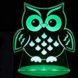 FSEWFS 7 Colors 3D Visual Led Glowing Eagle Modelling Night Light Kids Touch USB Animal Owl Table Lamp Baby Bedroom Lighting Decor Gift