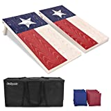#6: GoSports Regulation Size Solid Wood Cornhole Set – Choose American Flag, California Flag, Texas Flag – Includes Two 4' x 2' Boards, 8 Bean Bags, Carrying Case and Game Rules