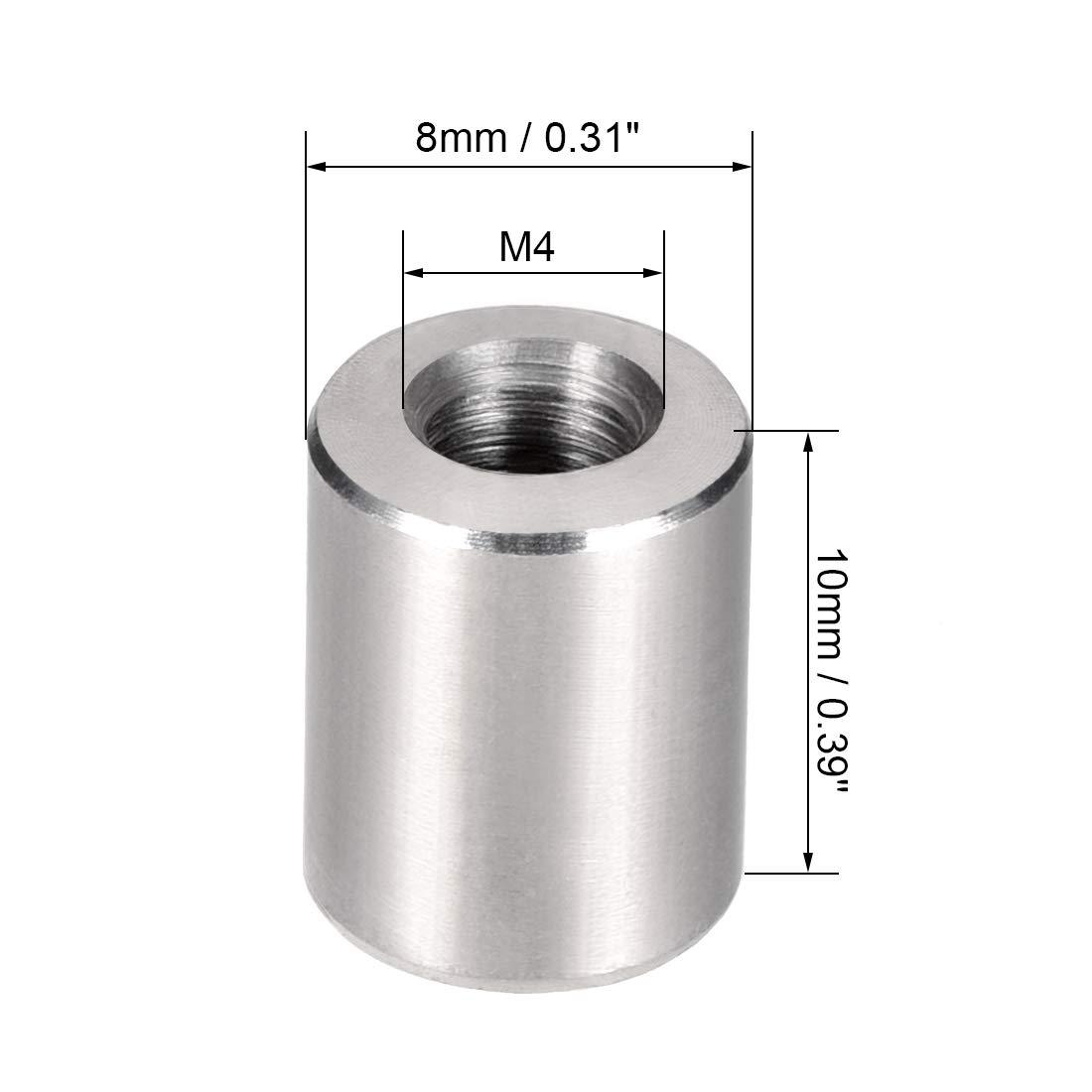 sourcing map Tuerca conector redondas M4x10mm de altura del manguito tuerca de v/ástago de acero inoxidable 304 10 pzas
