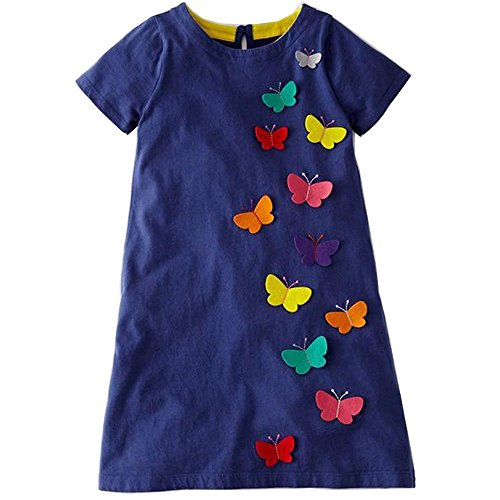 Youlebao Girls Cotton Long Sleeve Casual Cartoon Appliques Striped Jersey Dresses (3T, -