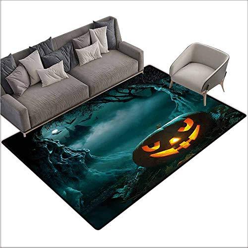 - Kitchen Doormat Halloween,Carved Pumpkin in Forest 64