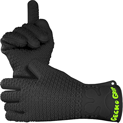 Verde River Products Gecko Grip Gloves, Silicone Heat Resistant Grilling BBQ, Oven, Grill, Baking, Smoking and Cooking Gloves, Med-Large, Black - Smoking Grill