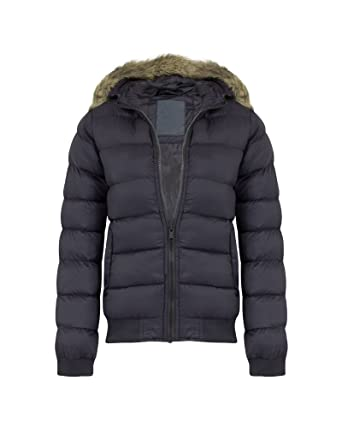 07cfd68b7 shelikes Kids Boys Winter Quilted Padded Puffer Fur Outerwear Hooded ...