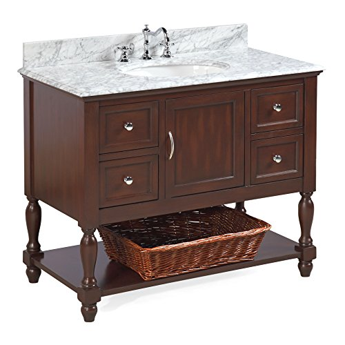 Beverly 42-inch Bathroom Vanity (Carrara/Chocolate): Includes Authentic Italian Carrara Marble Countertop, Chocolate Cabinet with Soft Close Drawers, and White Ceramic Sink
