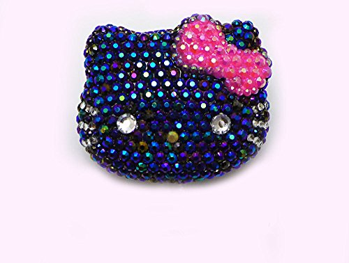 LOVEKITTY --- 1 pc Large Black Face Hot Pink Bow 100% Handcrafted AB Jelly Rhinestones Blinged out Kitty Face Resin Cabochon -- by lovekitty
