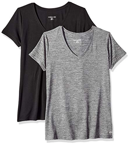 Amazon Essentials Women's 2-Pack Tech Stretch Short-Sleeve V-Neck T-Shirt, Space dye/Black, X-Small