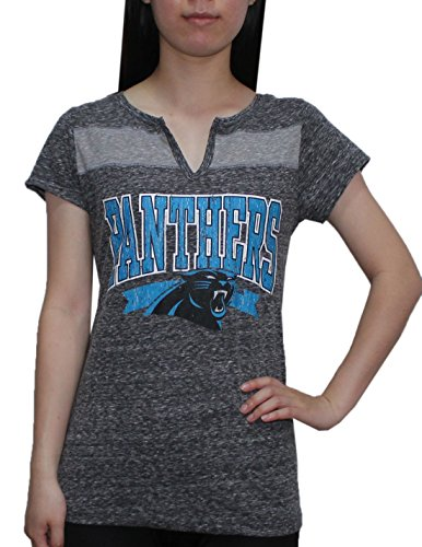 Womens CAROLINA PANTHERS Athletic Slit-V Neck T-Shirt (Vintage Look) XL Grey