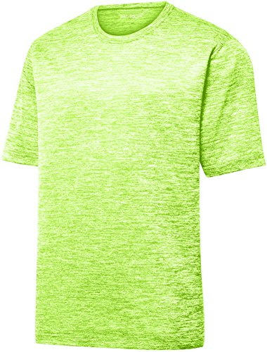 (Youth Dri-Equip Electric Heather Moisture Wicking T-Shirt-Lime-S )