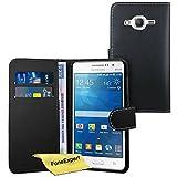 Galaxy Grand Prime Case, FoneExpert® Premium Leather Flip Book Wallet Case Cover For Samsung Galaxy Grand Prime G530 + Screen Protector & Cloth (Black)
