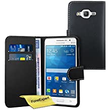 Galaxy Grand Prime Case, FoneExpert® Premium Leather Flip Book Wallet Case Cover For Samsung Galaxy Grand Prime G530 + Screen Protector & Cloth (Black)