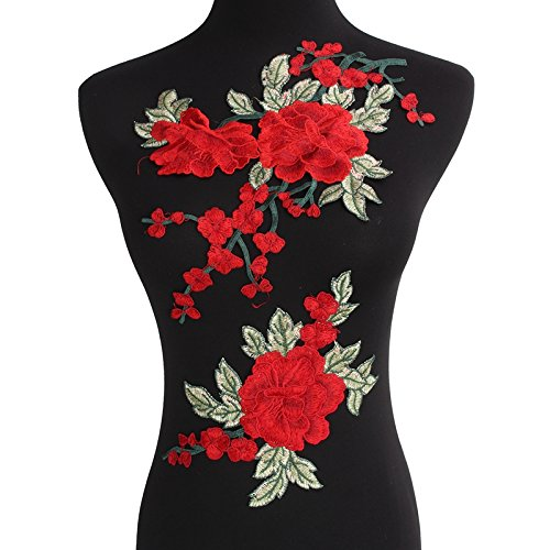- Flowers Embroidered Patch Sticker for Clothing Jacket Jeans Lace Applique DIY Clothes Decorations Fabric Patches (Red)